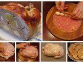 Миниатюра к статье Курица, фаршированная блинами, свининой и яйцами