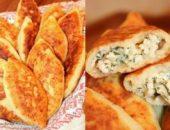 Миниатюра к статье Жареные пирожки из творожного теста с куриным фаршем, сыром и зеленью