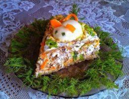 Миниатюра к статье Печеночный торт из куриной печени с грибами и морковью