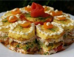 Миниатюра к статье Праздничный закусочный торт
